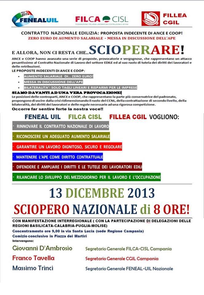 Lavoro: 13 dicembre sciopero generale edili. Corteo a Napoli